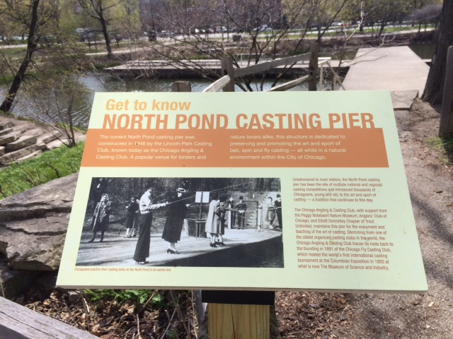 Plaque at the entrance of the North Pond Casting Pier - North Pond Casting Pier